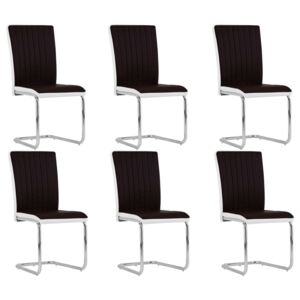 Cantilever Dining Chairs 6 pcs Brown Faux Leather