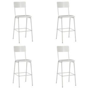 Bar Chairs 4 pcs White Solid Plywood Steel