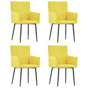 VidaXL Dining Chairs with Armrests 4 pcs Yellow Fabric