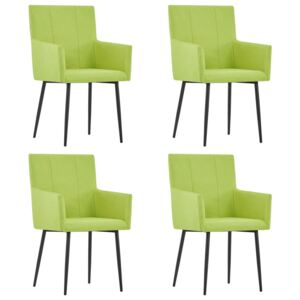 VidaXL Dining Chairs with Armrests 4 pcs Green Fabric