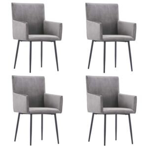 Dining Chairs with Armrests 4 pcs Grey Velvet