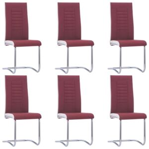 VidaXL Cantilever Dining Chairs 6 pcs Wine Red Fabric