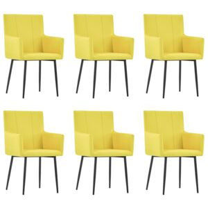 VidaXL Dining Chairs with Armrests 6 pcs Yellow Fabric