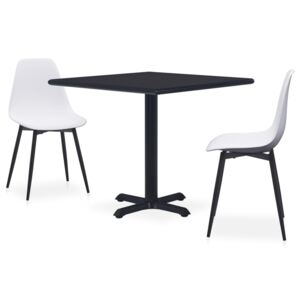 VidaXL 3 Piece Outdoor Dining Set Metal and PP White