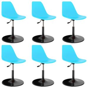 Swivel Dining Chairs 6 pcs Blue PP