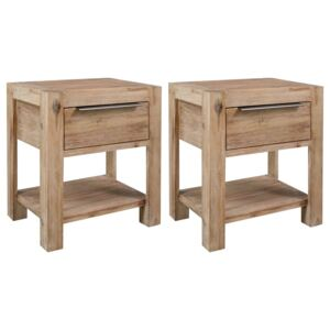 Nightstands with Drawers 2 pcs 40x30x48 cm Solid Acacia Wood