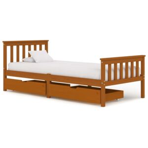 VidaXL Bed Frame with 2 Drawers Honey Brown Solid Pine Wood 100x200 cm