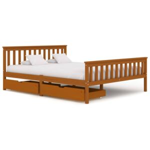 VidaXL Bed Frame with 2 Drawers Honey Brown Solid Pine Wood 160x200 cm