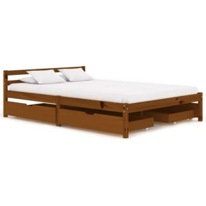 VidaXL Bed Frame with 4 Drawers Honey Brown Solid Pine Wood 140x200 cm