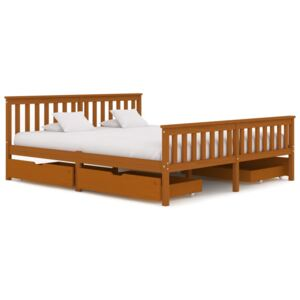 VidaXL Bed Frame with 4 Drawers Honey Brown Solid Pine Wood 180x200 cm