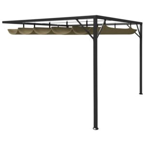 VidaXL Garden Wall Gazebo with Retractable Roof 3x3 m Taupe 180 g/m²