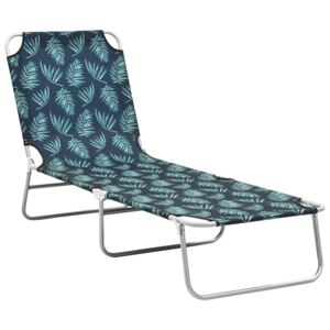 Folding Sun Lounger Steel and Fabric Leaves Print
