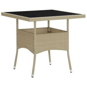 VidaXL Outdoor Dining Table Beige Poly Rattan and Glass