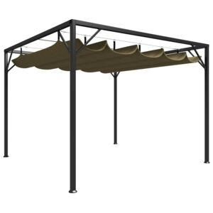 VidaXL Garden Gazebo with Retractable Roof 3x3 m Taupe 180 g/m²
