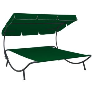 Outdoor Lounge Bed with Canopy Green