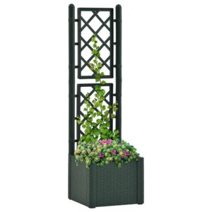 VidaXL Garden Raised Bed with Trellis and Self Watering System Green