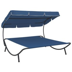 VidaXL Outdoor Lounge Bed with Canopy Blue