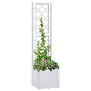 VidaXL Garden Raised Bed with Trellis and Self Watering System White