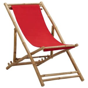 VidaXL Deck Chair Bamboo and Canvas Red