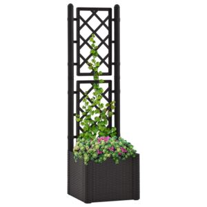 VidaXL Garden Raised Bed with Trellis and Self Watering System Anthracite