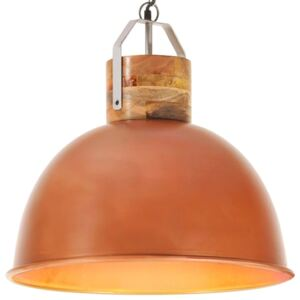 Industrial Hanging Lamp Copper Round 51 cm E27 Solid Mango Wood
