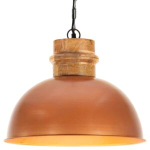 Industrial Hanging Lamp Copper Round 42 cm E27 Solid Mango Wood