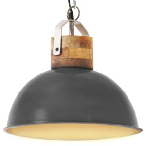 Industrial Hanging Lamp Grey Round 32 cm E27 Solid Mango Wood