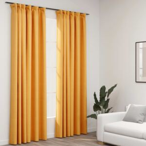 Linen-Look Blackout Curtains with Hooks 2 pcs Yellow 140x225 cm