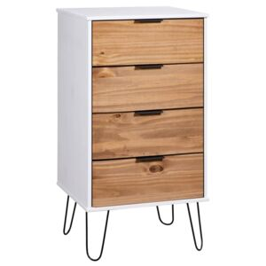 Drawer Cabinet Light Wood and White 45x39.5x90.3 cm Pine Wood