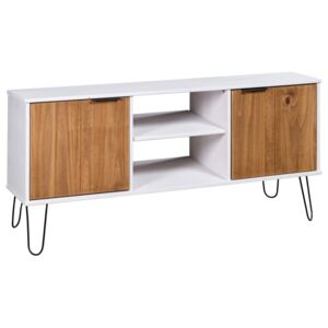 TV Cabinet New York Range White and Light Wood Solid Pine Wood