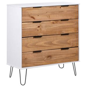 Drawer Cabinet Light Wood and White 76.5x39.5x90.3 cm Pine Wood
