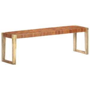 VidaXL Bench 150 cm Brown Real Leather and Solid Mango Wood