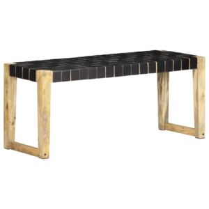VidaXL Bench 110 cm Black Real Leather and Solid Mango Wood