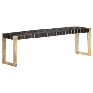 VidaXL Bench 150 cm Black Real Leather and Solid Mango Wood