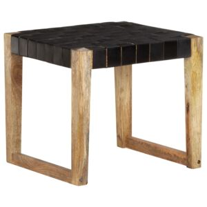 Stool Black Real Leather and Solid Mango Wood