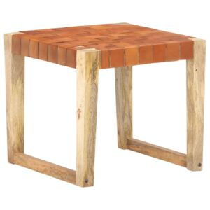 Stool Light Brown Real Leather and Solid Mango Wood