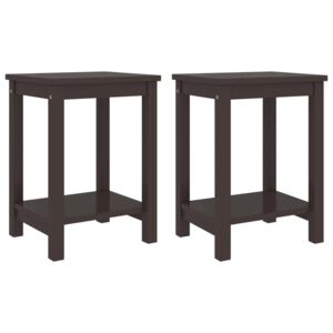 Bedside Cabinets 2 pcs Dark Brown 35x30x47 cm Solid Pinewood
