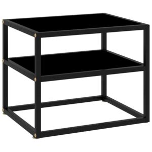 Console Table Black 50x40x40 cm Tempered Glass