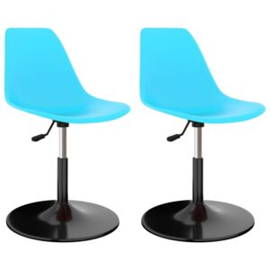 Swivel Dining Chairs 2 pcs Blue PP