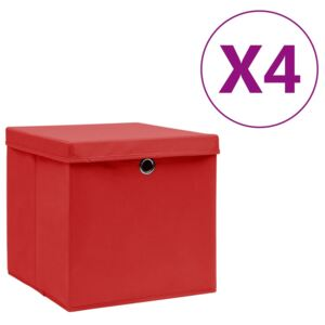 VidaXL Storage Boxes with Covers 4 pcs 28x28x28 cm Red