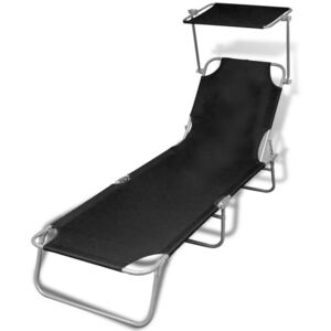 Folding Sun Lounger with Canopy Steel and Fabric Black