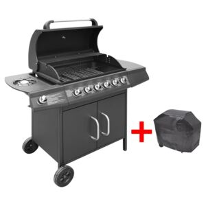 Gas Barbecue Grill 6+1 Cooking Zone Black