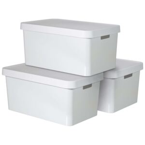 Curver Infinity Storage Box with Lid 3 pcs 45 L White 240683