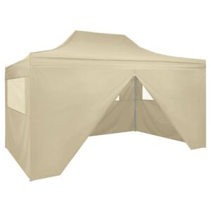 VidaXL Foldable Tent Pop-Up with 4 Side Walls 3x4.5 m Cream White