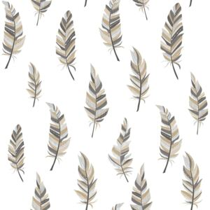 Urban Friends & Coffee Wallpaper Feathers White and Silver