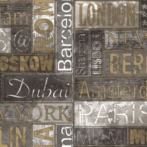 Urban Friends & Coffee Wallpaper City Names Grey and Gold