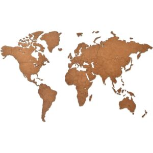 MiMi Innovations Wooden World Map Wall Decoration Luxury Brown 90x54 cm