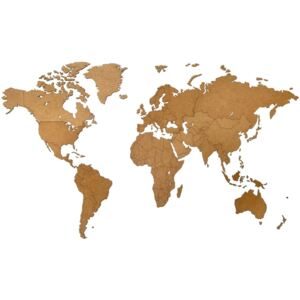 MiMi Innovations Wooden World Map Wall Decoration Luxury Brown 130x78 cm