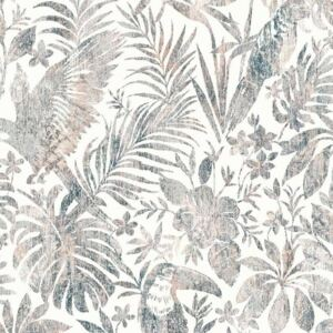 DUTCH WALLCOVERINGS Wallpaper Leaves and Toucan Beige