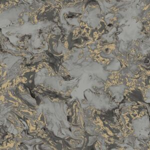 DUTCH WALLCOVERINGS Wallpaper Marble Grey and Gold